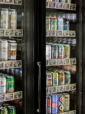 cold cases of cans of beer