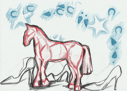 Horse, stars and footsteps