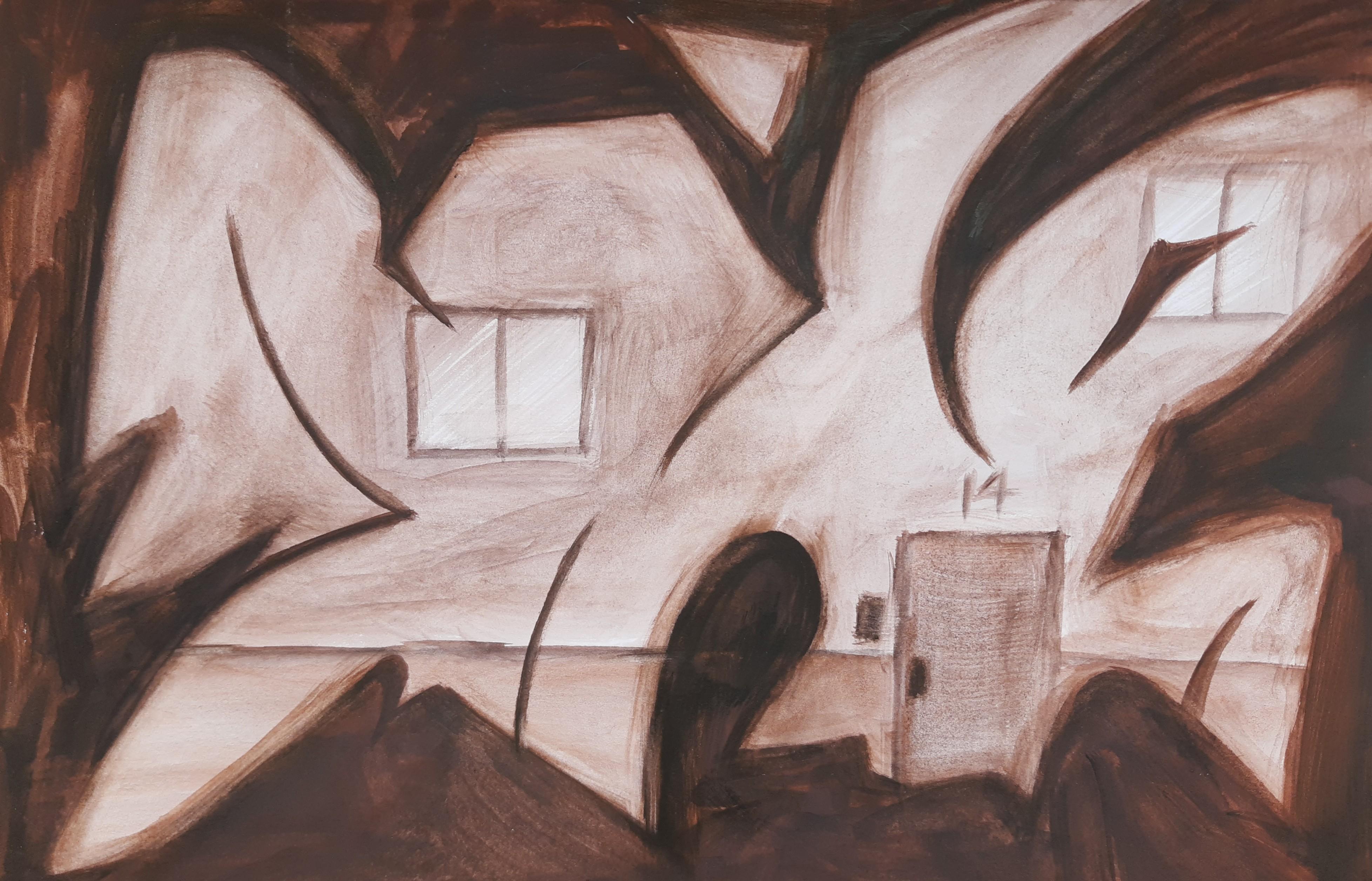 Graffiti house, gouache on paper, 2020