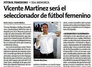 Vicente Martínez será el seleccionador de fútbol femenino