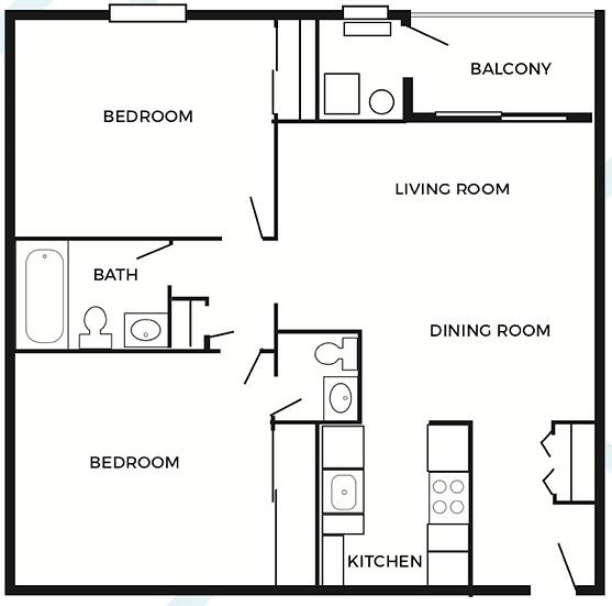 2 Bedroom - 1 1_2 Bath