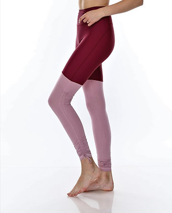 Ruched Side Medium Waisted Legging in Wine/Mauve