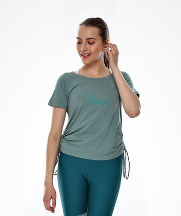 Ruched Side Short Sleeves Top in Algae