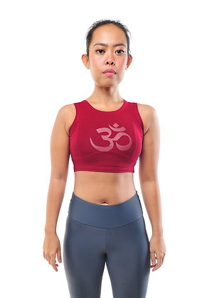 Mantra Crop Top Graphic in Maroon