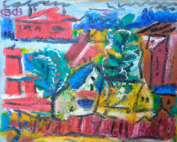 Village with a red house 68х85cm