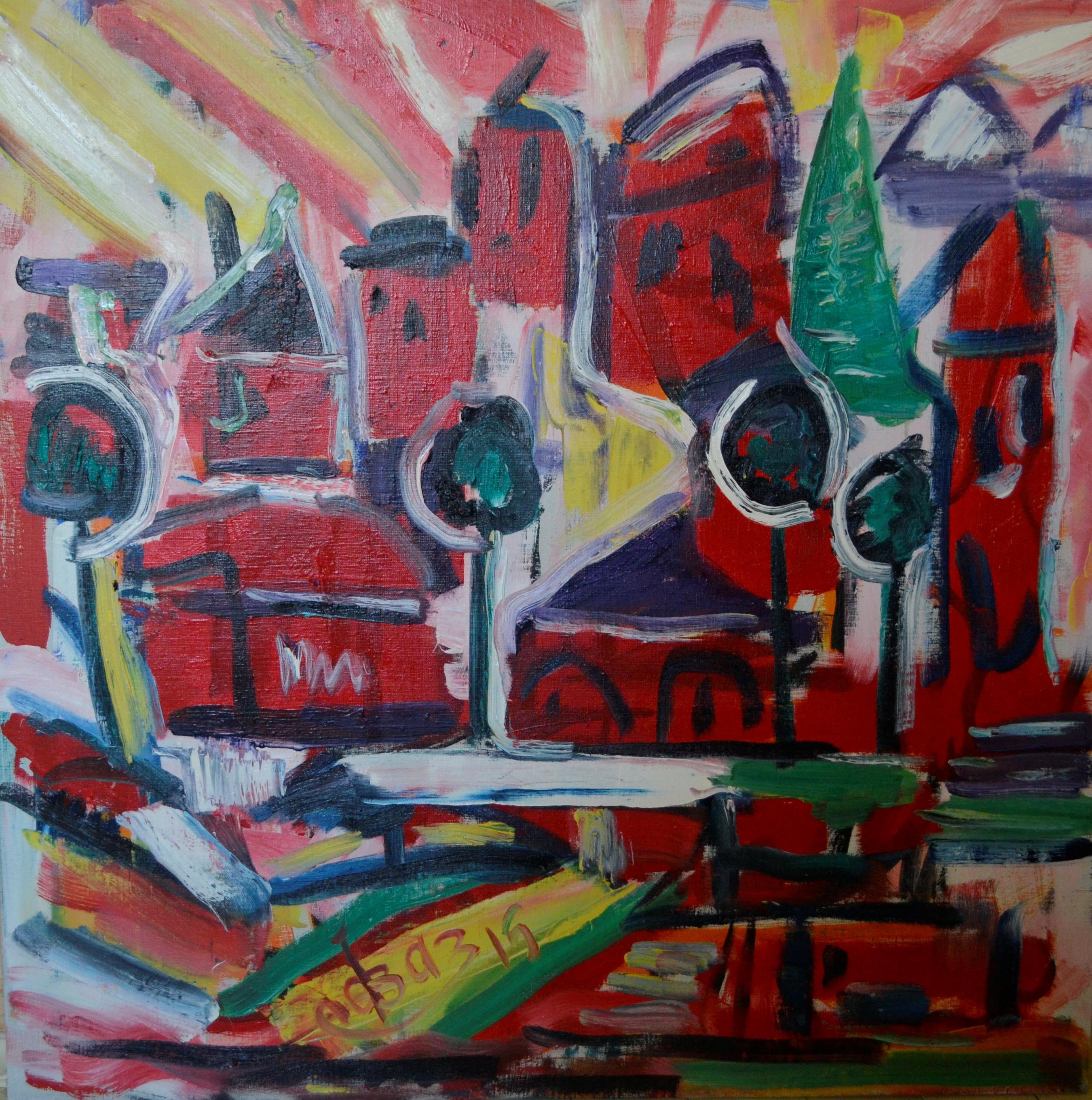 Landscape in Red Hues 100х100cm