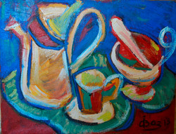 Still Life with Kettle and Cup 90х70cm