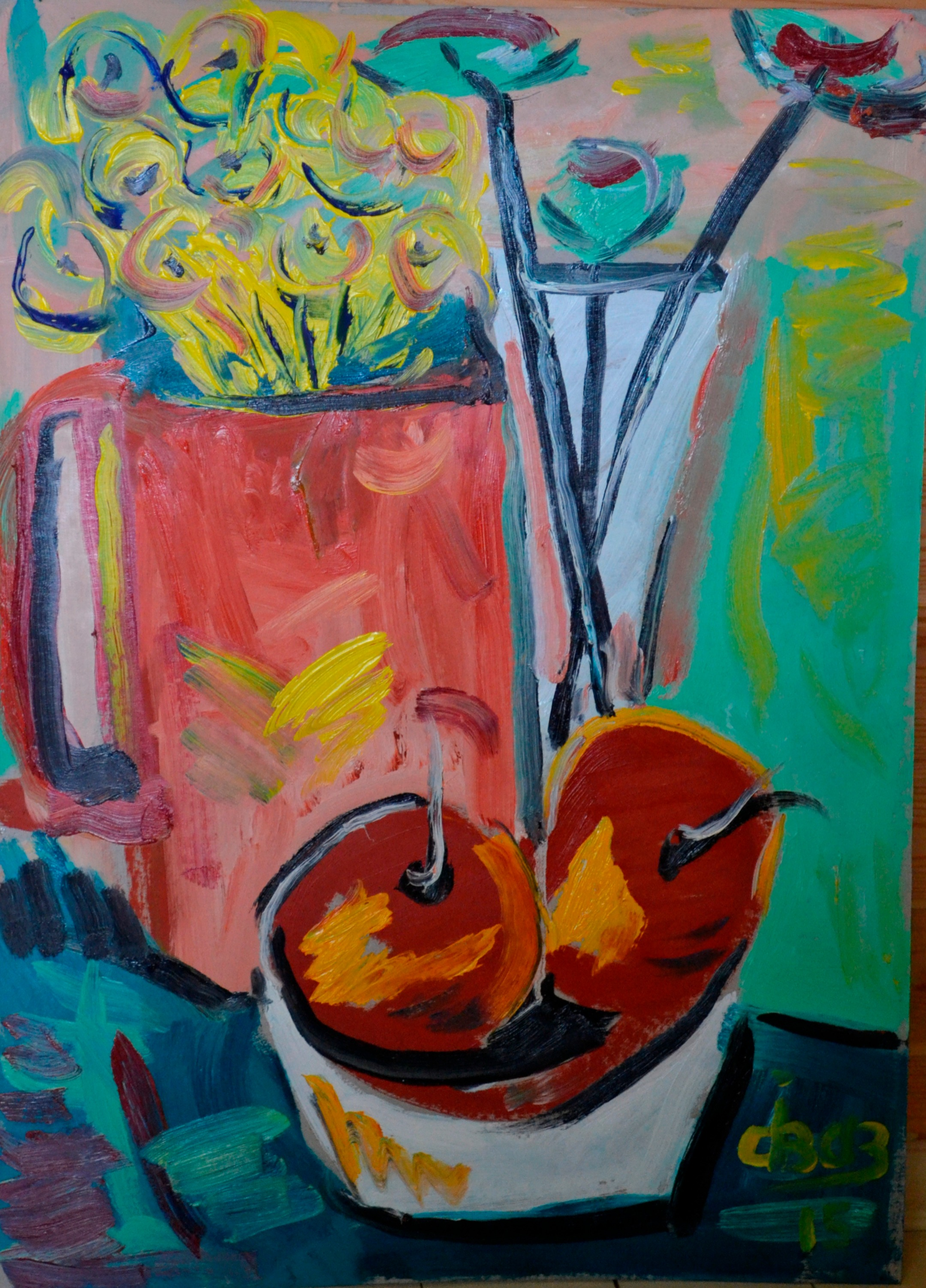 Still Life With Fruits And Red Cup, 50х70cm