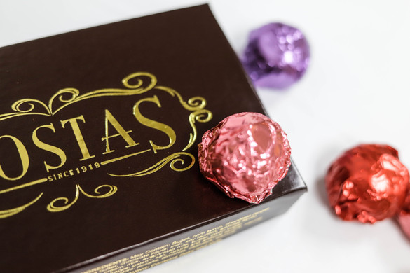 Assortment of Valentine's Day colored truffles