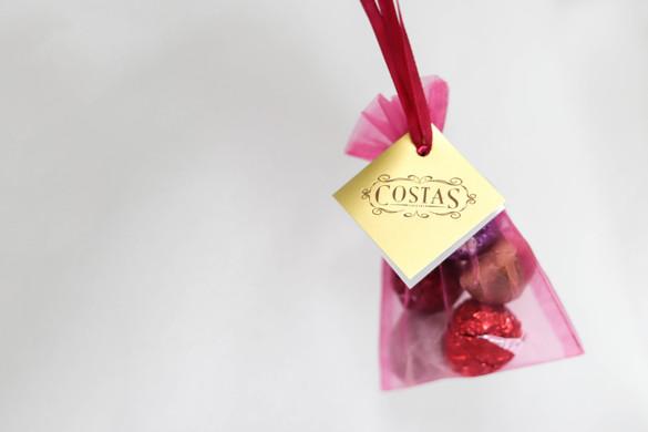 Seasonally colored candy bag