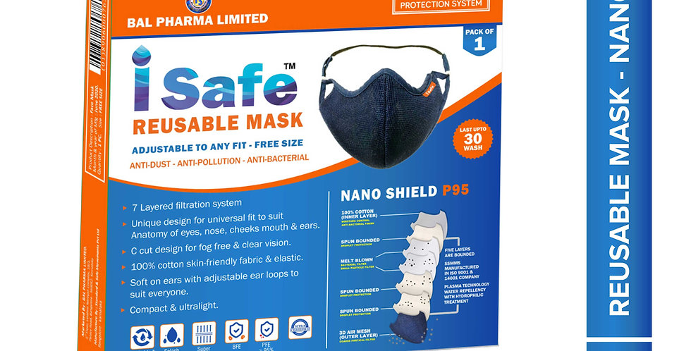 isafe Reusable and Washable mask