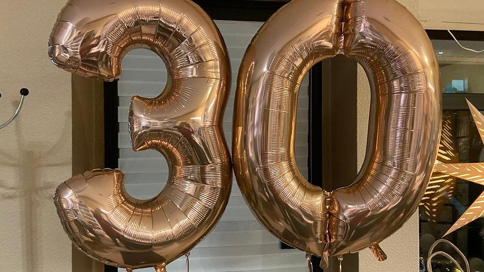 """Zahlenballon rosé groß 26"""" (66cm)"""