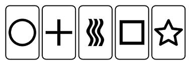 Cartas Zenner usadas para experiências científicas sobre telepatia por Rhine Univ. Duke