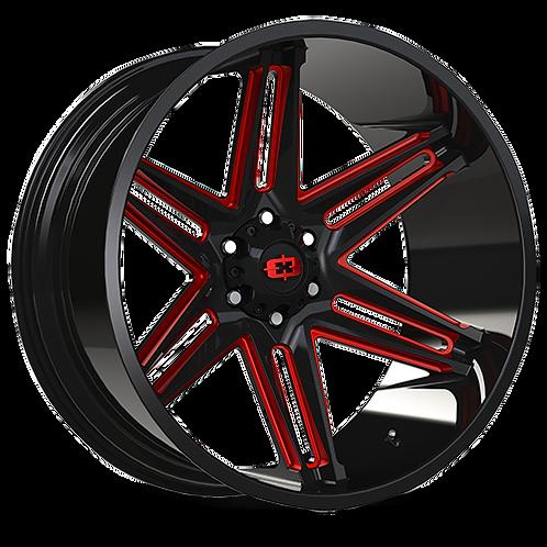 Rin 24x12 Vision 363 Razor GLOSS BLACK RED TINT