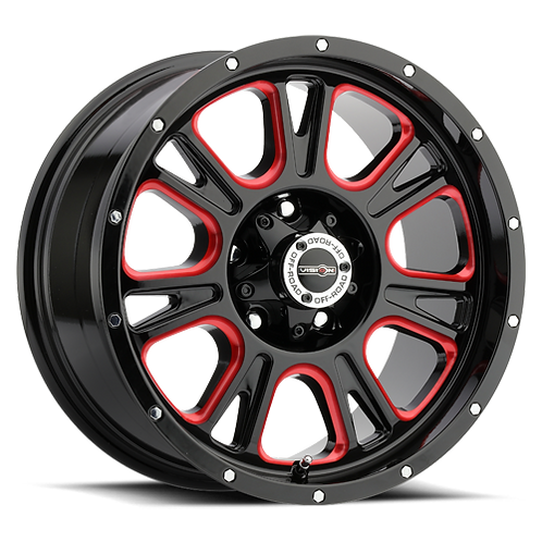 Rin 17x8.50 Vision 399 Fury GLOSS BLACK BALL CUT MACHINED WITH RED TINT