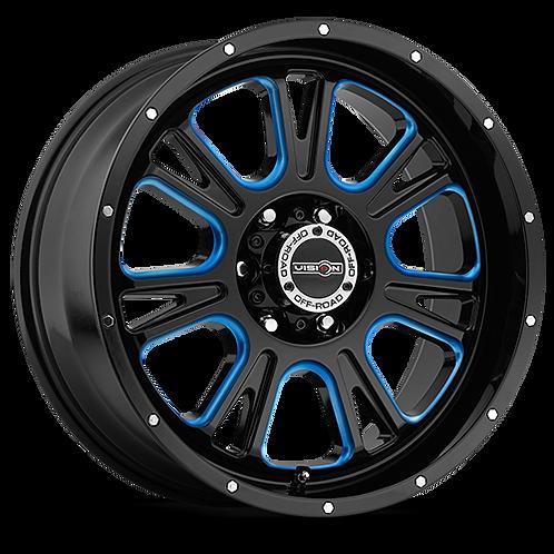 Rin 18x8.50 Vision 399 Fury GLOSS BLACK BALL CUT MACHINED WITH BLUE TINT