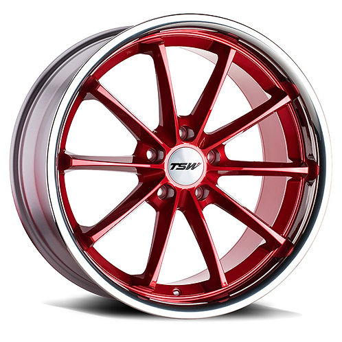 Rin 18x8.5 TSW Sweep CANDY RED W/ STAINLESS LIP