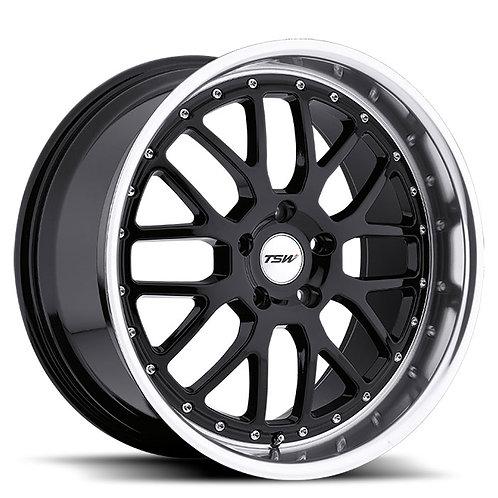 Rin 18x9.5 TSW Valencia GLOSS BLACK W/ MIRROR CUT LIP