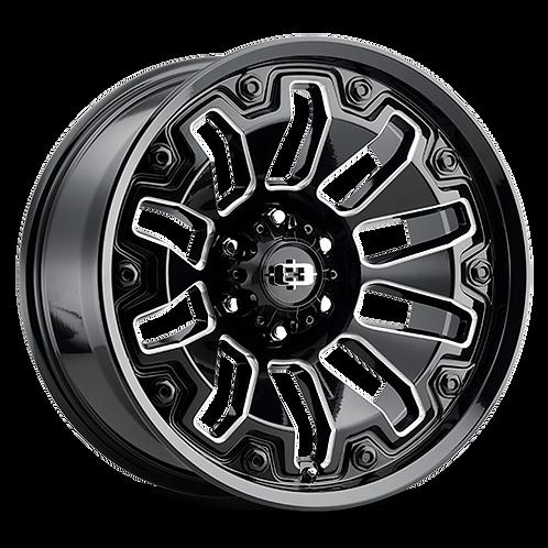 Rin 20x10 Vision 362 Armor GLOSS BLACK MILLED SPOKES/BLACK BOLTS