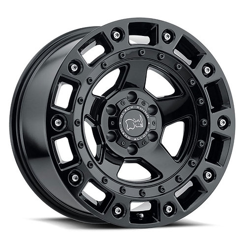 Rin 18x9.5 Black Rhino Cinco GLOSS BLACK W/ STAINLESS BOLTS
