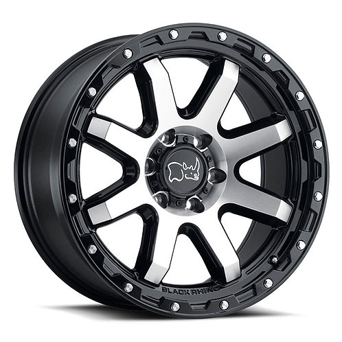 Rin 18x9 Black Rhino Coyote GLOSS BLACK W/ MACHINED FACE & STAINLES