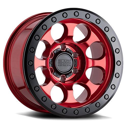 Rin 17x8.5 Black Rhino Riot Beadlock CANDY RED W/ BLACK RING & BLACK BOLTS