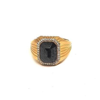 Zümrüt Kesim Siyah Elmas Erkek Yüzüğü