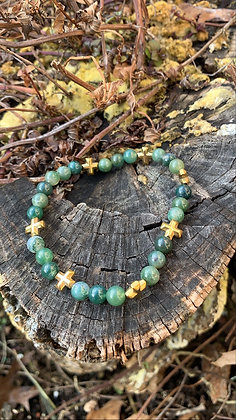 Moss Agate & Hematite Cross Bracelet