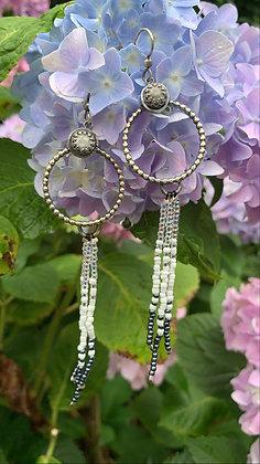 Howlite Hoop Fringe Earrings