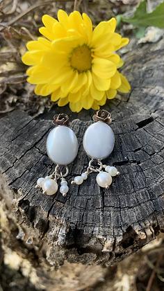 Mother of Pearl & Rose Earrings