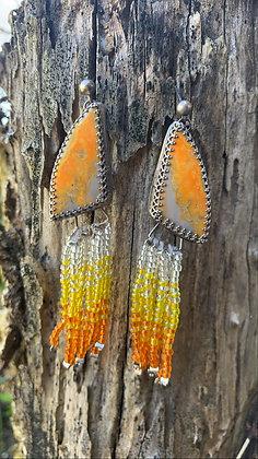 Savannah Fringe Earrings (Bumblebee Jasper)