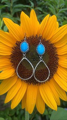 Blue Howlite Teardrop Earrings