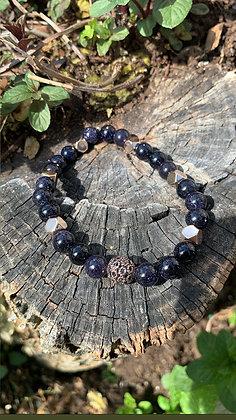 Blue Goldstone & Rose Gold Hematite Gemstone Bracelet