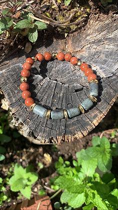 Onyx & Goldstone Gemstone Bracelet