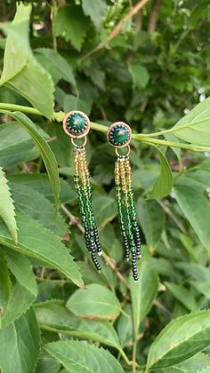 Dina Fringe Earrings (Malachite)