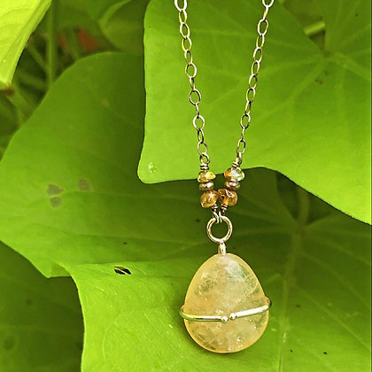 Citrine Hug Prong Necklace