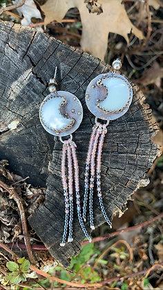 Luna Fringe Earrings (Mother of Pearl)