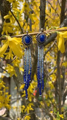 Santorini Fringe Earrings (Blue Onyx)