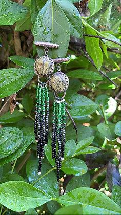 Stella Fringe Earrings (Green Vein Jasper)