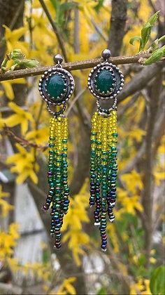 Montego Fringe Earrings (Green Onyx)