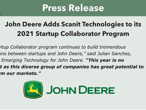 Scanit Selected to 2021 John Deere Startup Collaborator Program