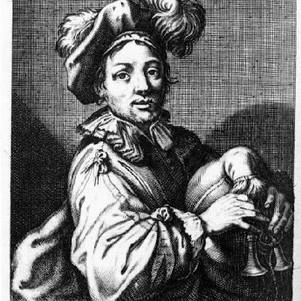 Musician playing sordellina (Claude Vignon, after Charles David, 1630)
