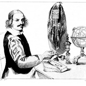 Manfredo Settala with his sordellina (1630) (with many keys, even for the drones)