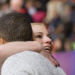 Evgenia TARASOVA (RUS) and her coach Robin SZOLKOWY