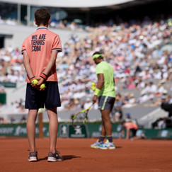 A ball boy during Rafael Nadal's service