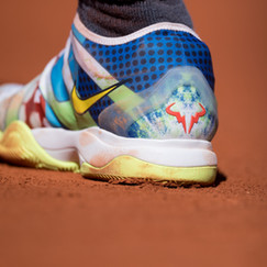 Rafael Nadal's shoe with his personalized logo on