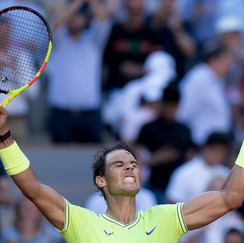 Rafael Nadal from Spain celebrating his victory
