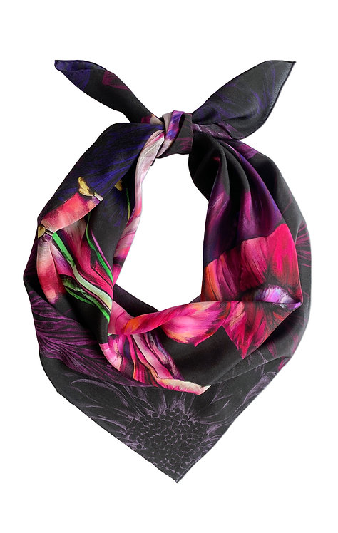 'Ebony Bright' Luxury Silk Small Scarf