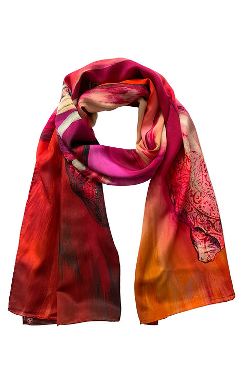 'Bauhinia' Long Luxury Silk Scarf