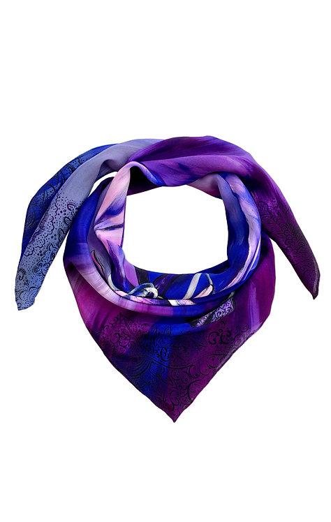 'Bauhinia Indigo' Luxury Silk Medium Scarf